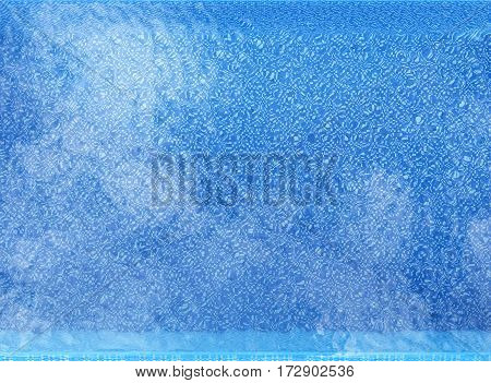 3d rendering clear pool top view background