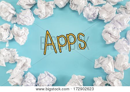 Apps Text With Crumpled Paper Balls