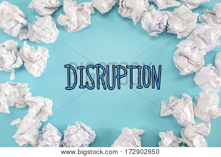 Disruption Text With Crumpled Paper Balls