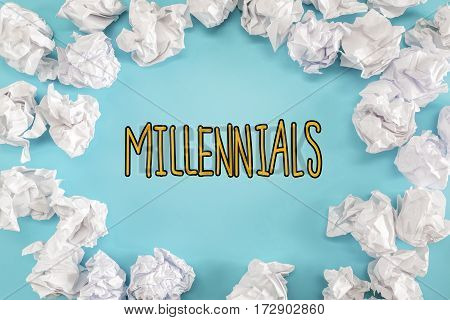 Millennials Text With Crumpled Paper Balls