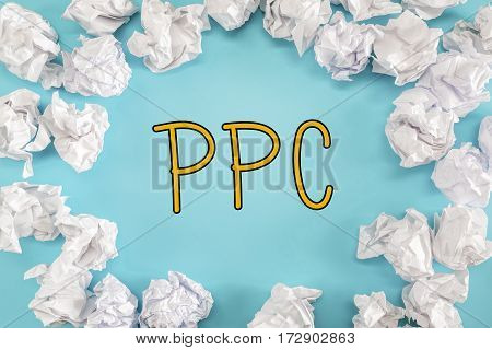 Ppc Text With Crumpled Paper Balls