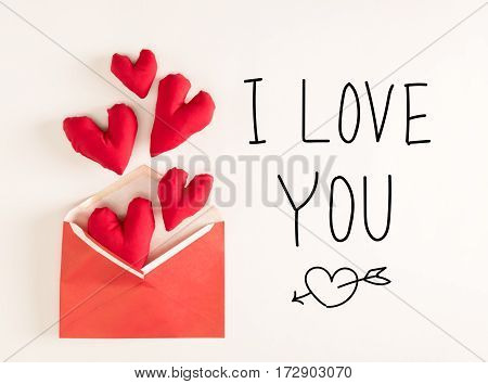 I Love You Message With Red Heart Cushions