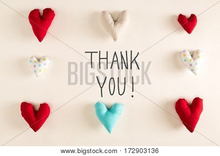 Thank You Message With Blue Heart Cushions