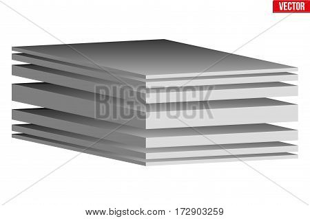 Technical illustration of a multilayer fabric. Demonstration of the structure of the material. Vector Illustration isolated on white background