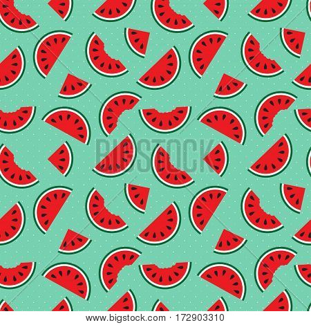 Watermelons, Whole And Bitten Chunks, Small And Large Slices Evenly Placed, Around The Pattern. Cute