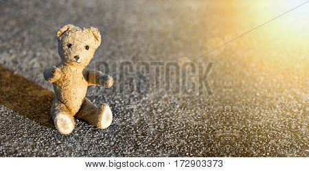 Birthday concept banner - cute vintage toy bear