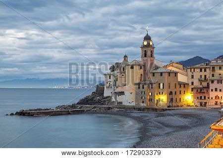 The world famous tip of Camogli, along the shores of Ligurian Region, (Northern Italy). Color image.