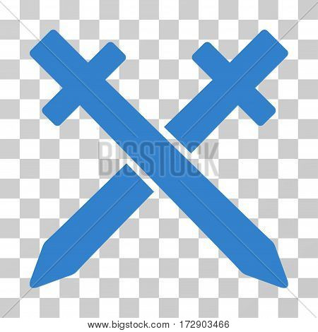 Crossing Swords vector pictograph. Illustration style is flat iconic cobalt symbol on a transparent background.