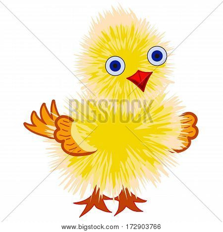 Fluffy yellow chick isolated on white background, cartoon or game character. Vector illustration