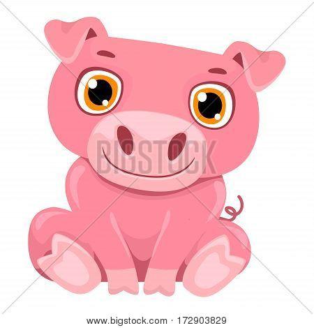 Vector Illustration of One Cute Cartoon Pig