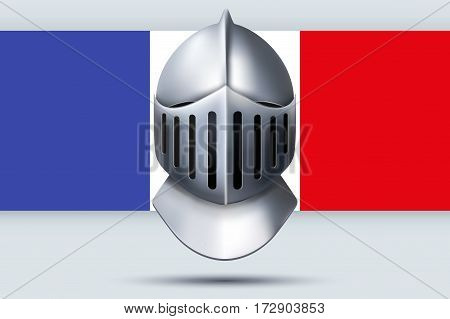 Election Symbol of Knight Helmet with French Flag. Design template and element. for greeting and invitation. France Election 2017. Vector Illustration