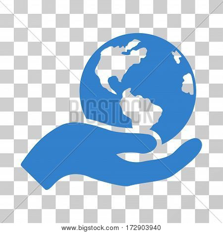 Earth Care vector pictograph. Illustration style is flat iconic cobalt symbol on a transparent background.