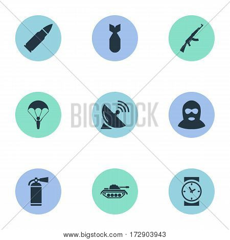 Set Of 9 Simple Battle Icons. Can Be Found Such Elements As Extinguisher, Terrorist, Kalashnikov And Other.