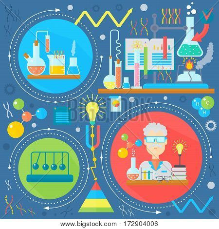 Flat design concept of science and technology. Scientific Research, Chemical Experiment infographics concept design, web elements, poster banners. Vector illustration