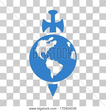 Earth Guard vector icon. Illustration style is flat iconic cobalt symbol on a transparent background.