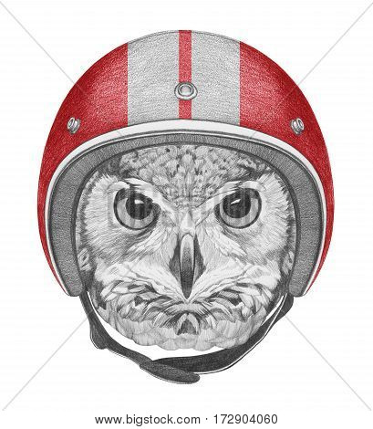 Portrait of Owl with Helmet. Hand drawn illustration.