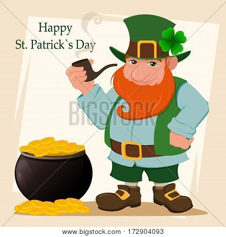 Cartoon happy leprechaun. Character with green hat red beard smoking pipe and four leaf clover standing near pot with golden coins. Vector modern illustration on Saint Patrick's Day.