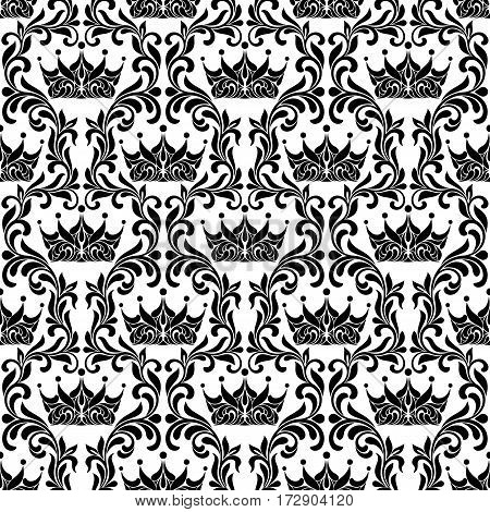Royal Seamless Pattern. Crown and floral vintage tracery isolated on a white background.
