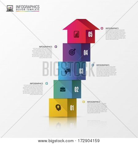Abstract 3d stairs infographics or timeline template. Vector illustration