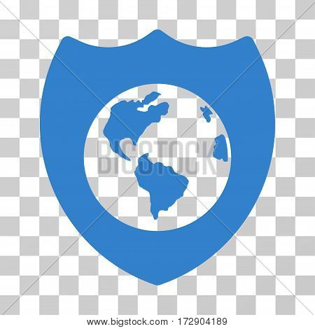 Earth Shield vector pictograph. Illustration style is flat iconic cobalt symbol on a transparent background.