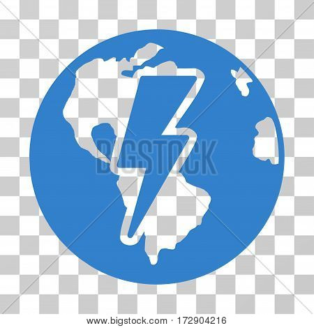 Earth Shock vector pictogram. Illustration style is flat iconic cobalt symbol on a transparent background.