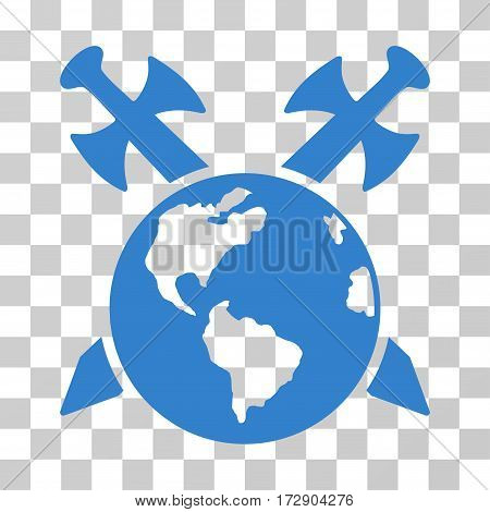 Earth Swords vector pictogram. Illustration style is flat iconic cobalt symbol on a transparent background.