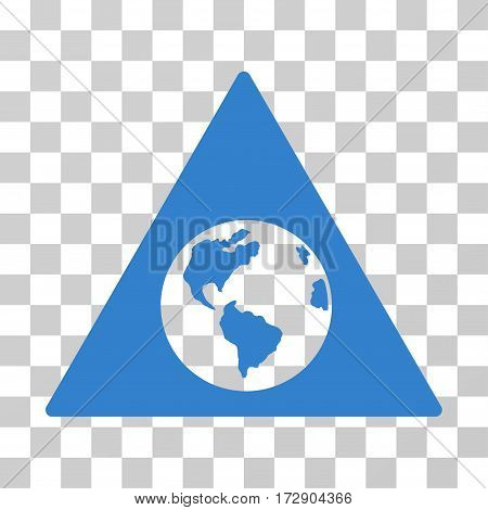 Earth Warning vector pictograph. Illustration style is flat iconic cobalt symbol on a transparent background.