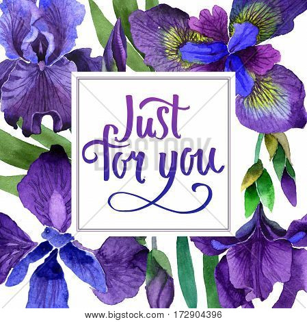 Wildflower iris flower frame in a watercolor style isolated. Full name of the plant: purple iris. Aquarelle wild flower for background, texture, wrapper pattern, frame or border.