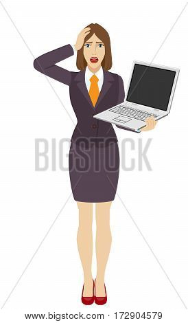 Businesswoman holding a laptop notebook and grabbed his head. Full length portrait of businesswoman in a flat style. Vector illustration.