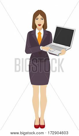 Businesswoman holding a laptop notebook and clicks on the button. Full length portrait of businesswoman in a flat style. Vector illustration.