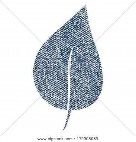 Plant Leaf vector textured icon for overlay watermark stamps. Blue jeans fabric vectorized texture. Symbol with dirty design. Blue ink rubber seal stamp with fiber textile structure.