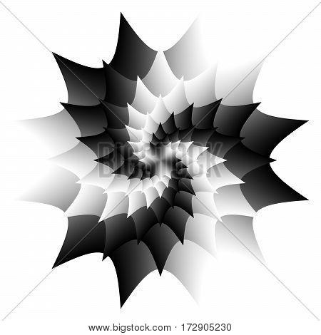 Abstract black and white mandala Flower isolated on white background Yin yang Petal bloom Esoteric mandala