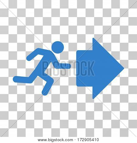 Exit Direction vector pictograph. Illustration style is flat iconic cobalt symbol on a transparent background.