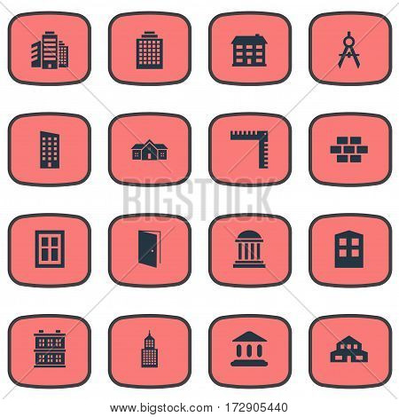 Set Of 16 Simple Structure Icons. Can Be Found Such Elements As Superstructure, Floor, Block And Other.