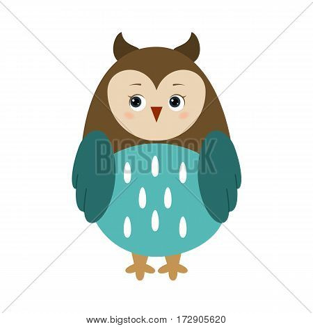 Owl, illustration for children. Design element for baby shower card, scrapbooking, invitation, children goods and childish accessories. Isolated on white background. Vector illustration.