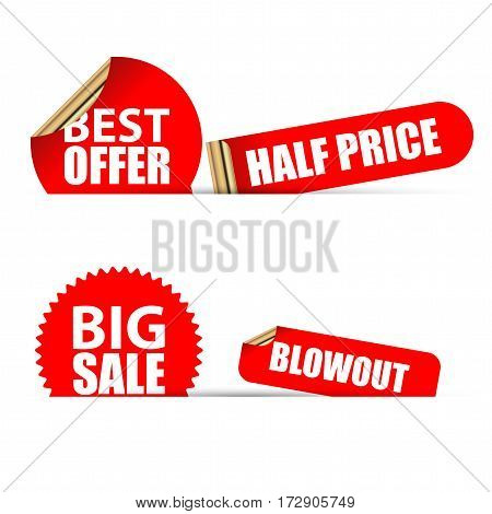 Sale stickers set. Modern red style. Vector illustration