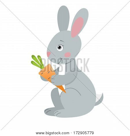 Hare, illustration for children. Design element for baby shower card, scrapbooking, invitation, children goods and childish accessories. Isolated on white background. Vector illustration.