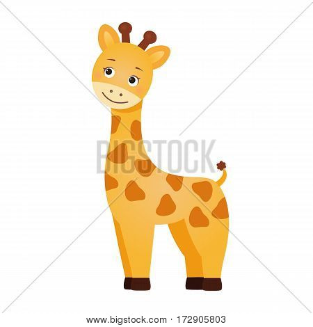 Giraffe, illustration for children. Design element for baby shower card, scrapbooking, invitation, children goods and childish accessories. Isolated on white background. Vector illustration.