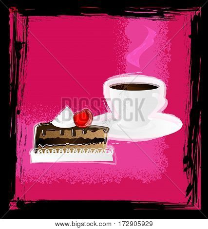 dark background, pink abstract and white cup of coffee or tea with cherry cake