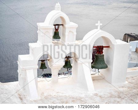 Traditional Bell Tower In Santorini