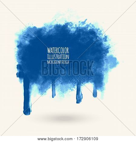 vector splats splashes and blobs of blue ink paint in different shapes drips isolated on white