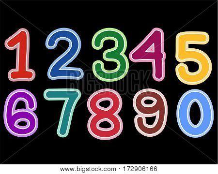 Illustration of Number Set on black background