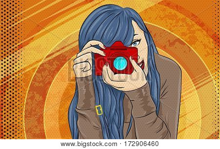 Comic Book Girl Pop Art illustration. Photographer or Videographer Vintage Advertising Poster. Fashion Woman with Photo Camera.