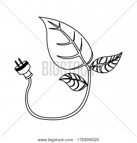 energy-saving leaves bulbs with power cable icon, vector illustration design