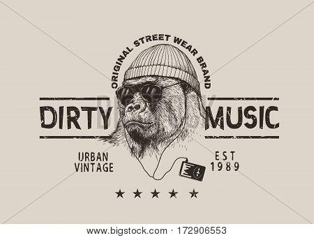 steep gorilla listen a music in headphones.Vector grunge label for t-shirt design .Street style