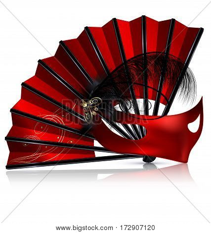 white background and the red fan with crimson half-mask, feathers, veil