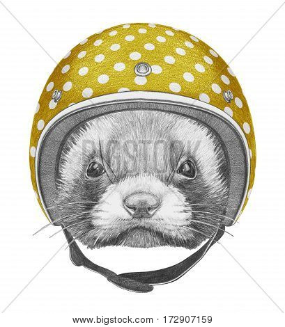 Portrait of Least Weasel with Helmet. Hand drawn illustration.