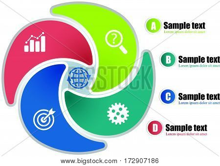 Circle Infographic Template With 4 Steps