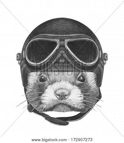 Portrait of Least Weasel with Vintage Helmet. Hand drawn illustration.
