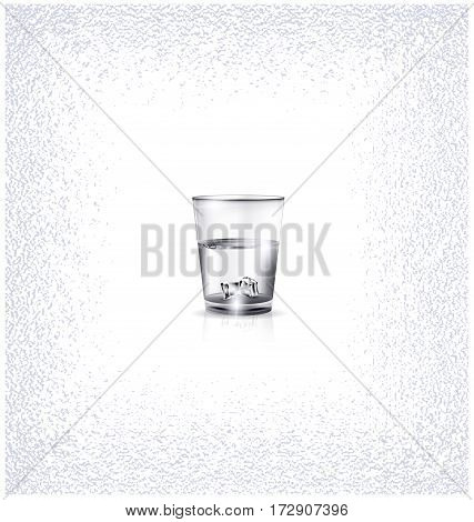 white background, the small glass of strong alkoholic drink or water and ice cubes inside
